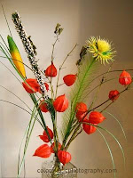Flower arrangement with Chinese lantern