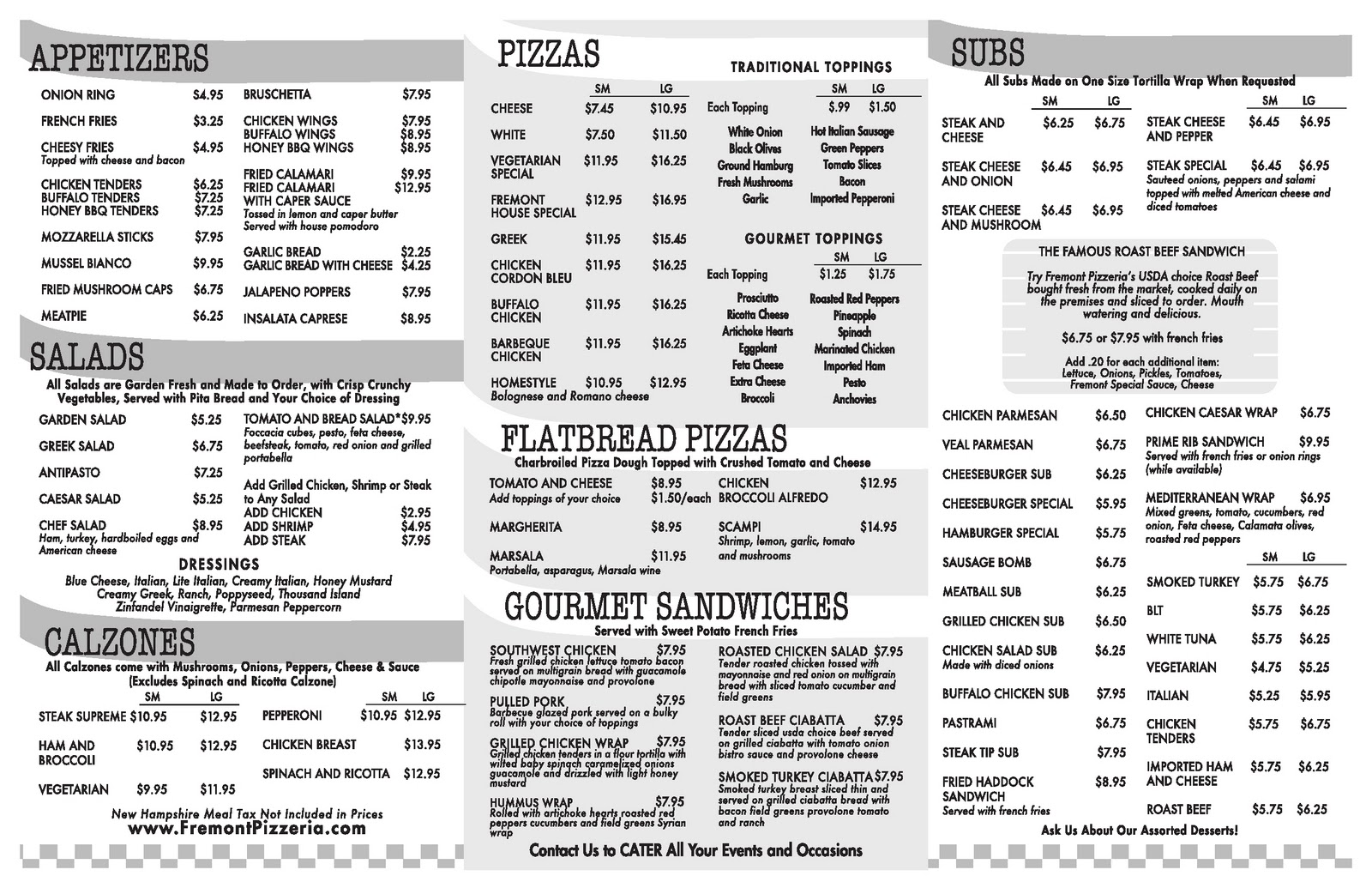 Fremont Pizzeria Restaurant Pizza Catering Family Dining Located