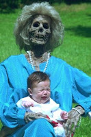 granny died suddenly, child sitting on a skeleton
