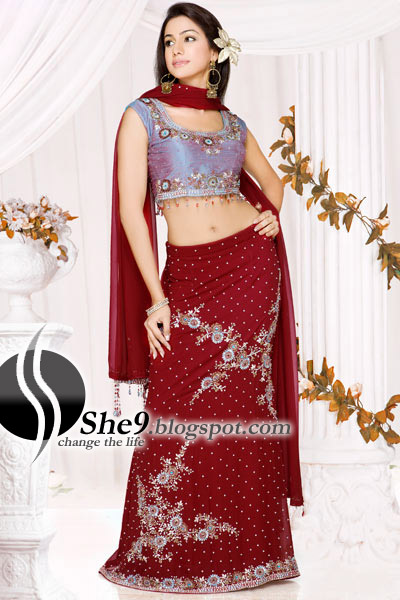 f49b98fe7d00 It's a Indian Cultural with modern fancy trendy style. This lehenga have  silver baildar work with motifs and zari where as chuli in short stylish  style have ...