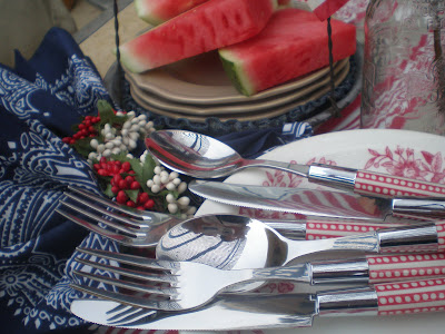 Pottery Barn silverware, Red white and blue tablescape