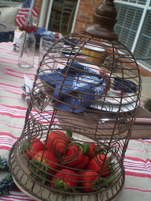 red white and blue tablescape, Memorial Day Table decor, Rusty Cloche, 4th of July table decor,  Red white and Blue