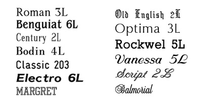 Group 18: Shot list of fonts