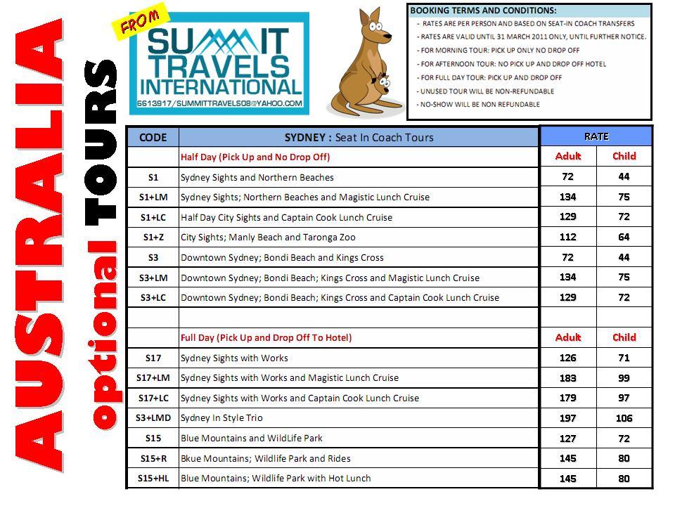 Cheap Travel Package Australia - Optional Tours valid till Mar 2011 - travel quotation sample