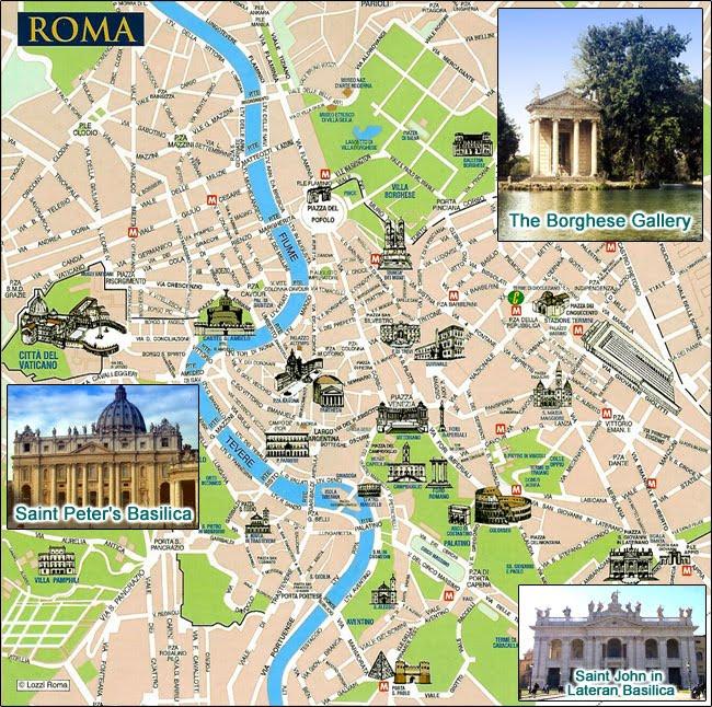 At Rejse Til Rom Bykort Over Rom