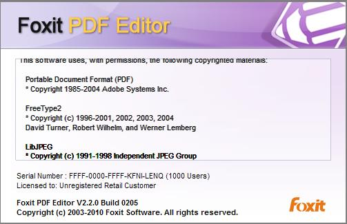 FREE SOFTWARE DOWNLOAD: Foxit PDF Editor Version 2.2.0.225