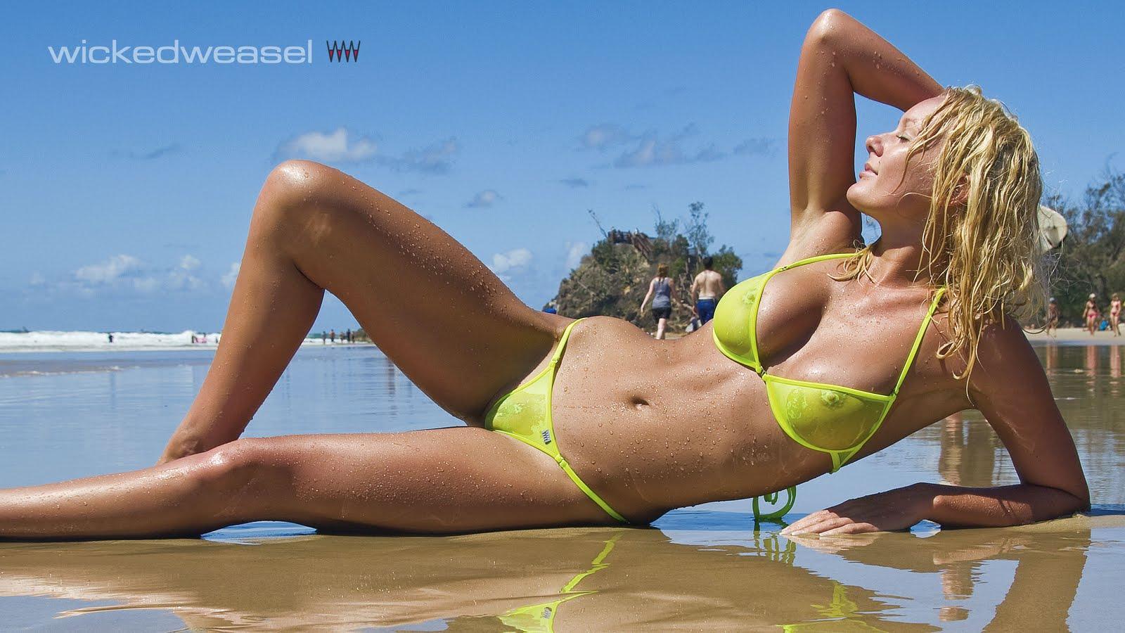 See Through Yellow Bikini
