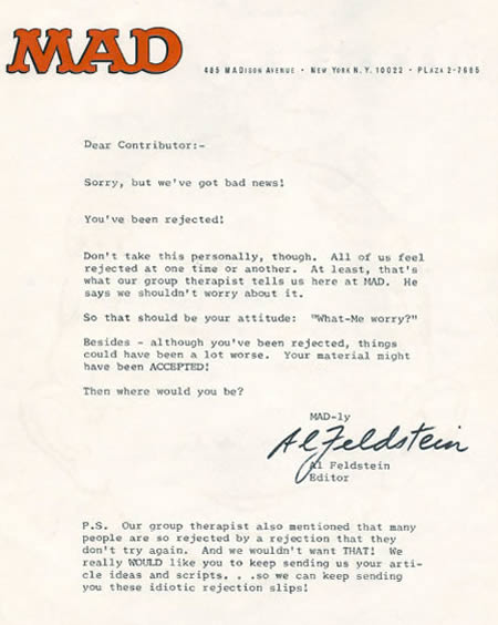 Coolpics 10 Funniest Rejection Letters