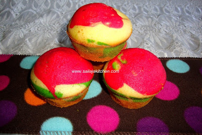 image of Rainbow Cup Cake Recipe / Colourful Cupcake Recipe