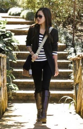 Bookish And Belle Brown Boots And Striped Top A Match