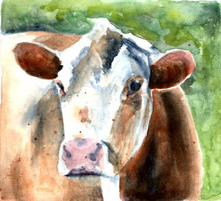 Moooo - A Karin Jurick Challenge, painted by Nancy Van Blaricom