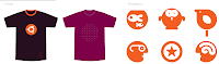 tshirt and pictogram design on new ubuntu theme