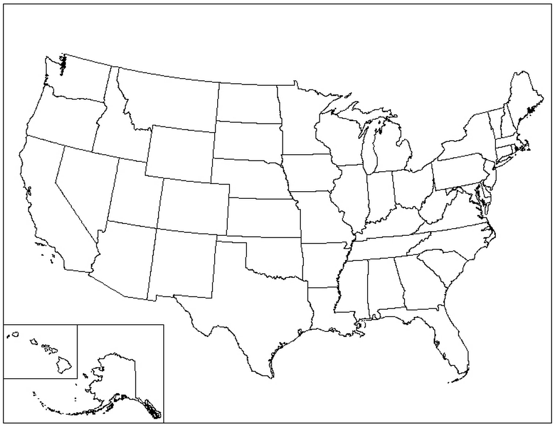 united states map colouring pages