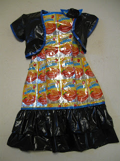 Project Recycle Dress 1  Caprisuns and Black Trash Bags