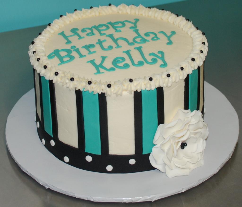 The Bakery Next Door: Teal & Black Birthday Cake