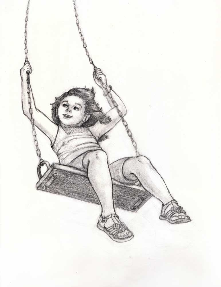 Jennifer k keller illustrations swinging summer days for Swing set coloring page
