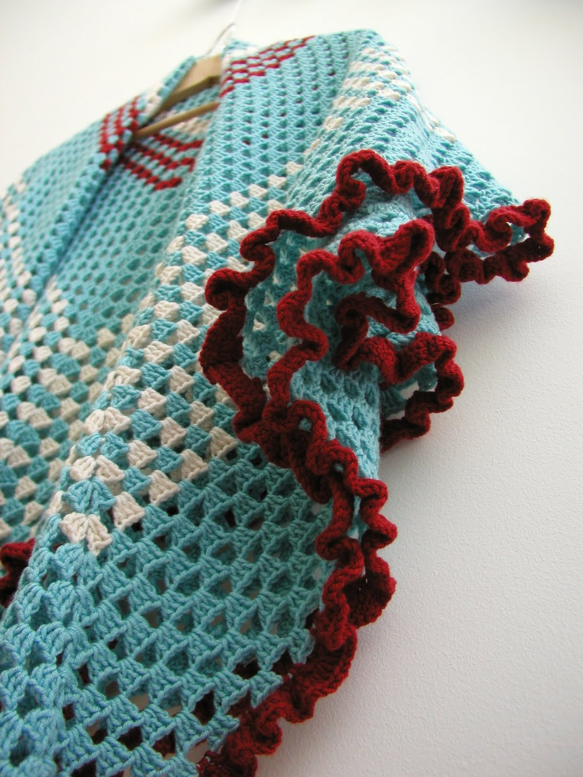 Hand Knitted Things Crochet Ruffle Throw