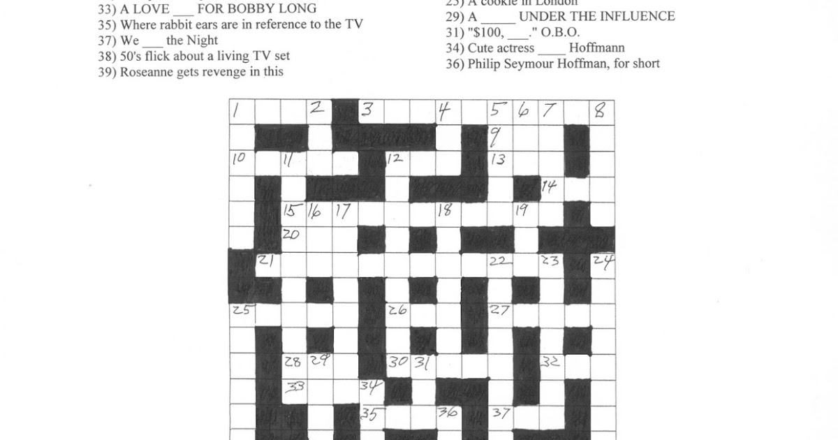 TEMPLE OF SCHLOCK: Answers to Kris' Movie Crossword Puzzle #13