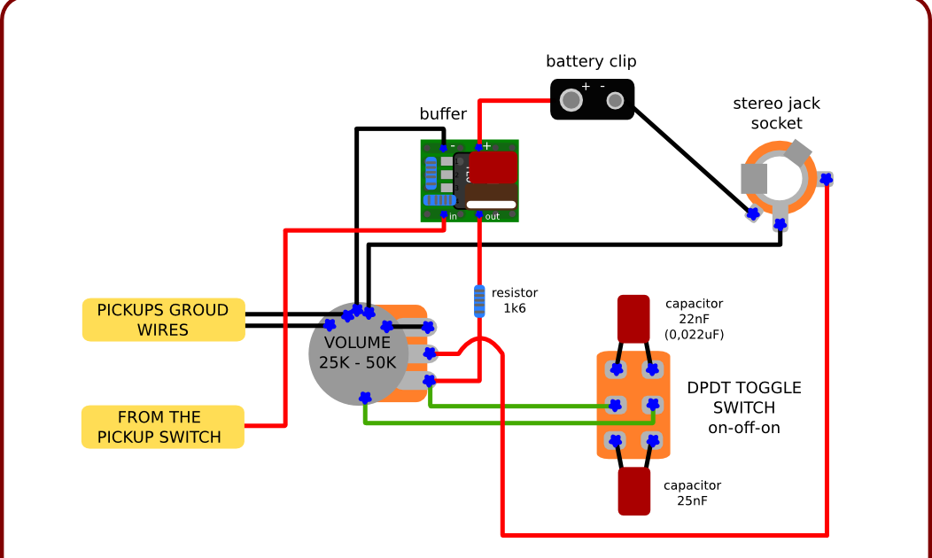 The Guitar Wiring Blog  diagrams and tips: Quite Simple Active Guitar Wiring  for Clean Signal