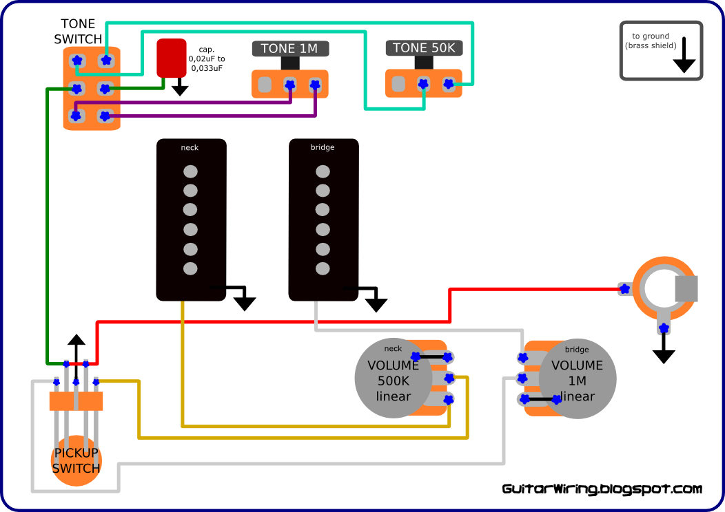 Wiring Drawings Bas 3 Controls 1 Pickup Pict Bass Guitar Guitar Wiring