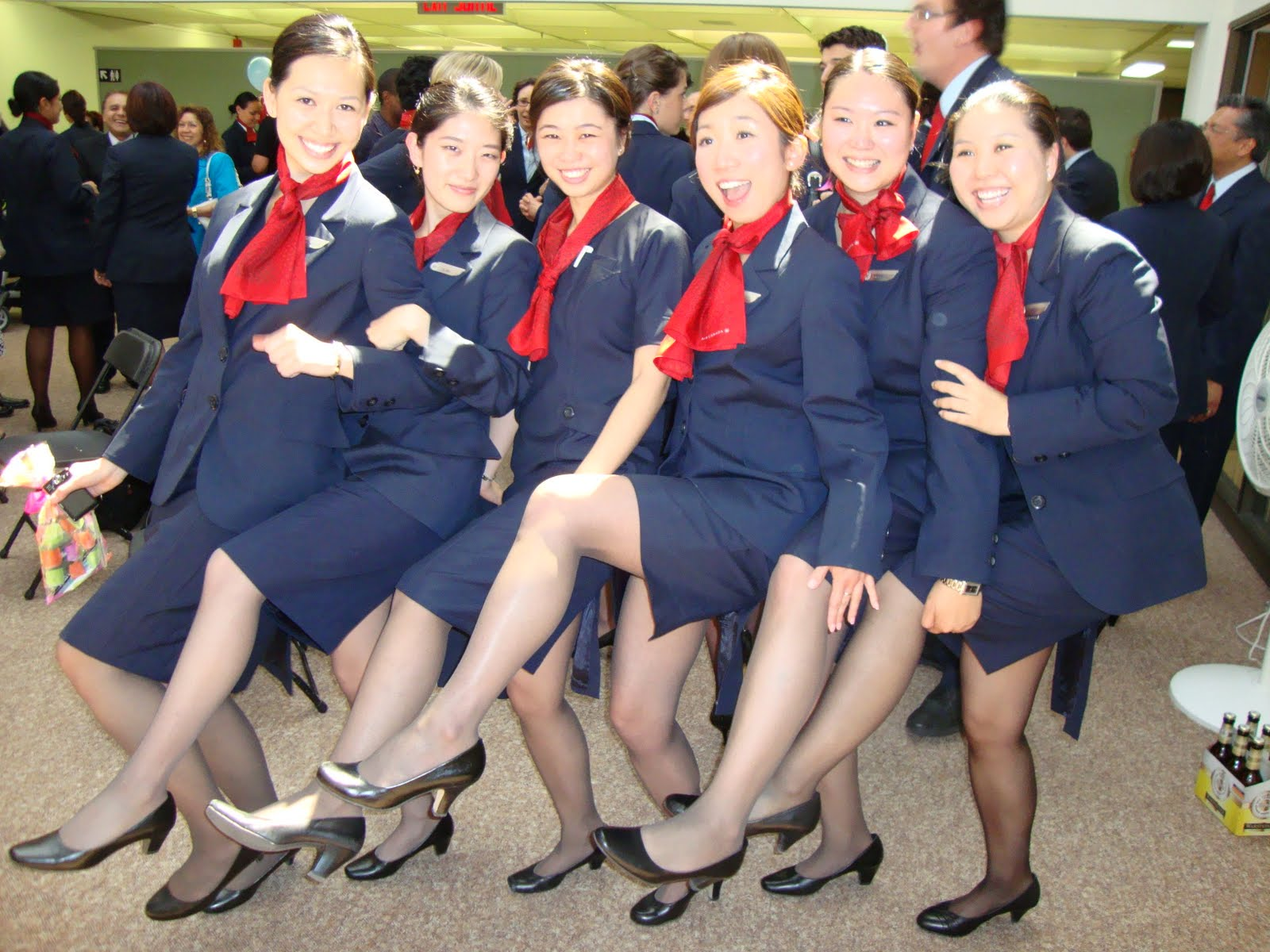 Stewardess in training mode