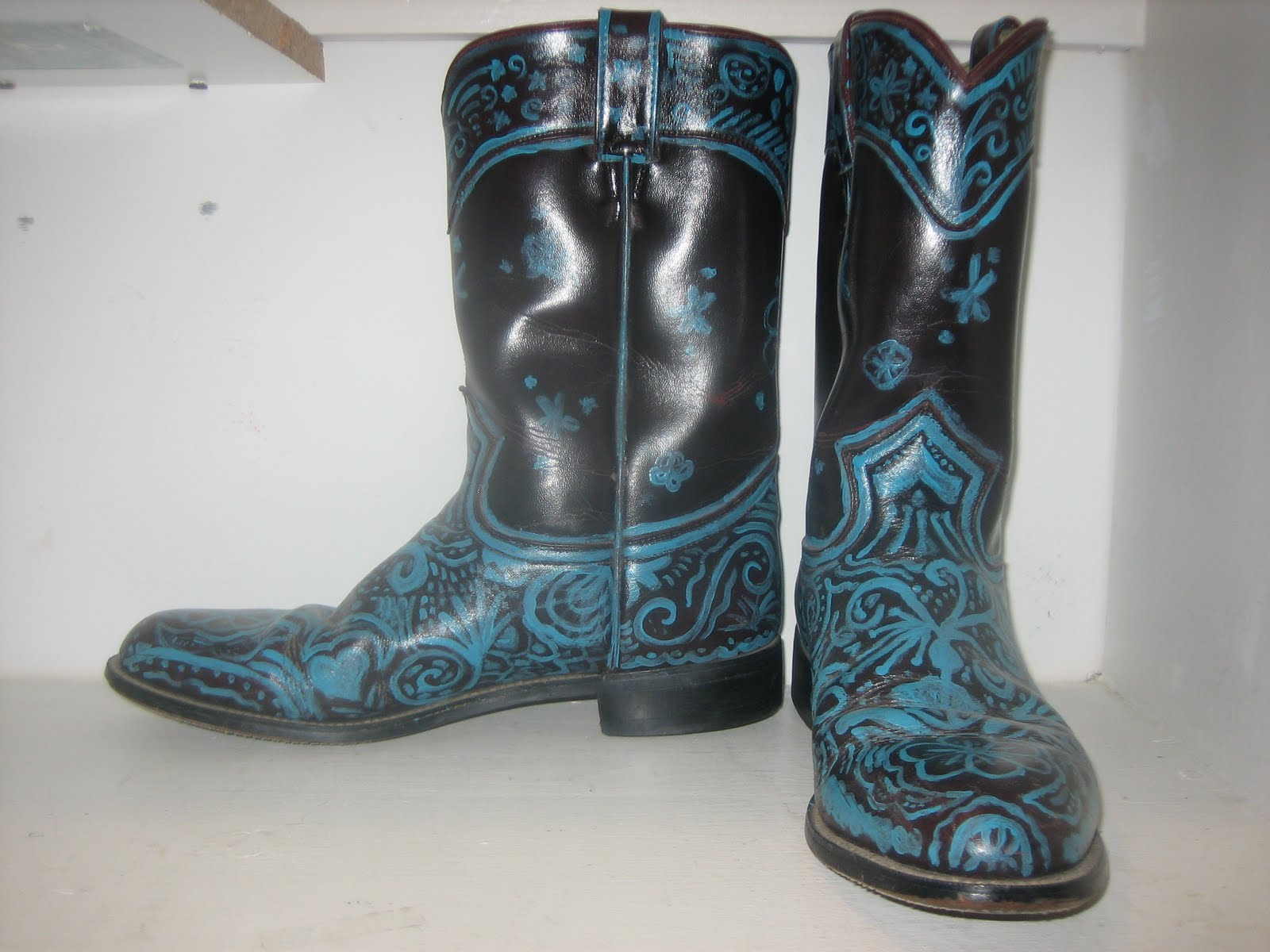 Cut Amp Charred Custom Painted Cowboy Boots