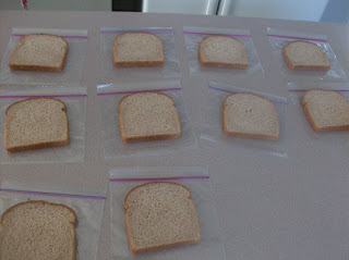 10 plastic baggies spread out with a slice of bread on each, the start of a make ahead lunch idea/