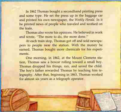good books for kids lists reading level info by topic lists  sample page 2 from a picture book of thomas alva edison by david adler