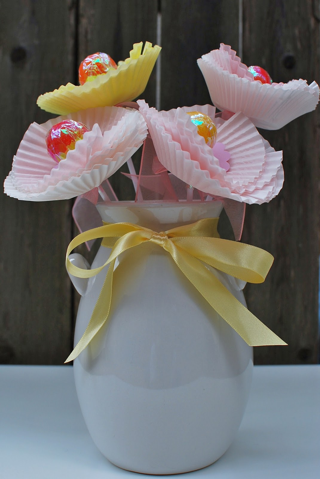 Paper peonies from cupcake wraps.