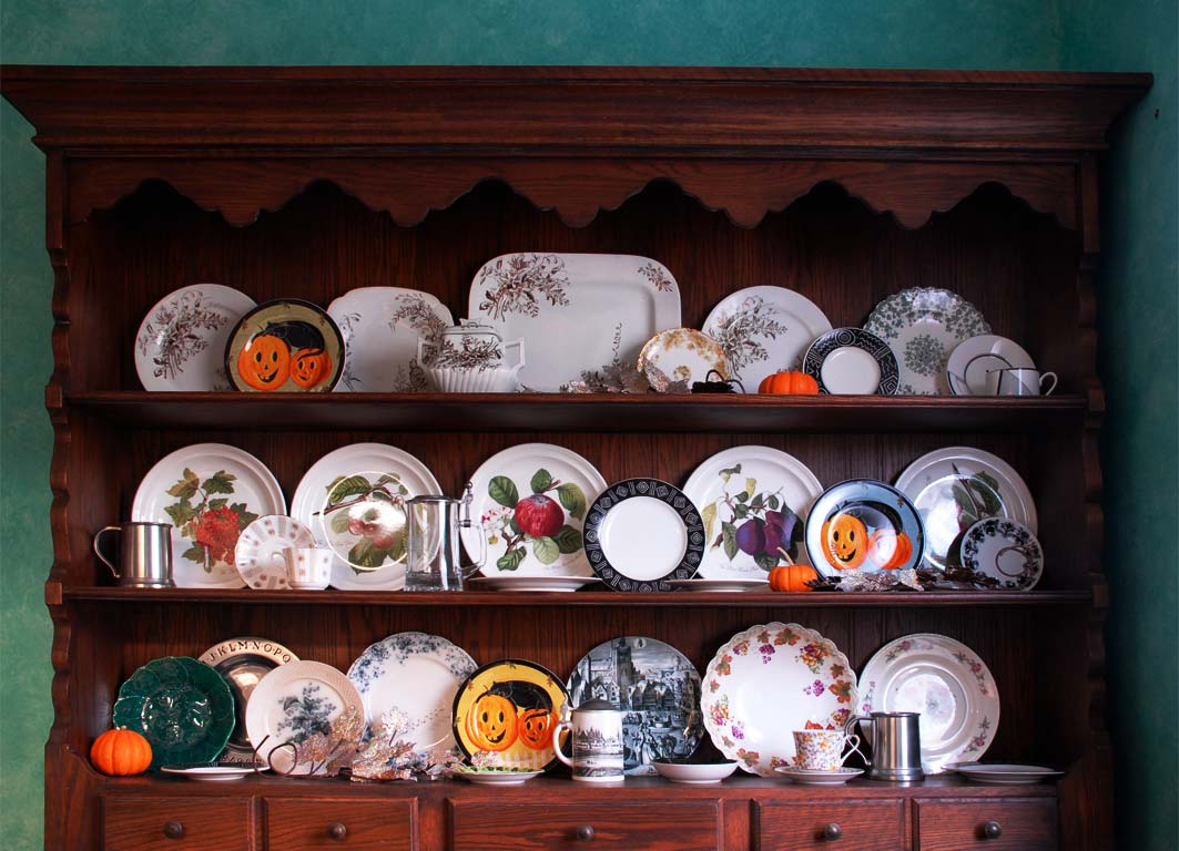 Welsh Dresser Halloween China cabinet hutch display