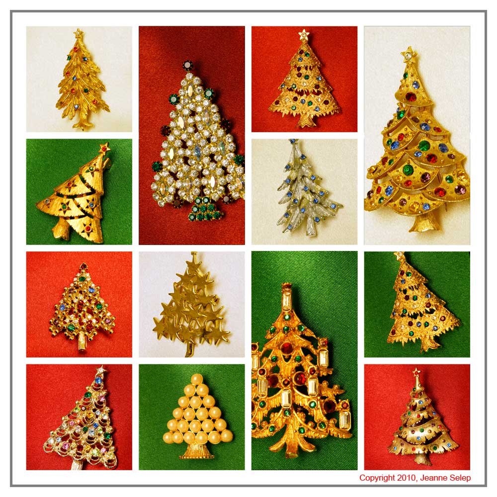 vintage costume jewelry Christmas tree pins