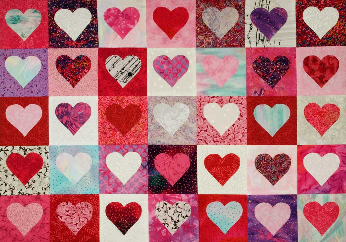 Valentine heart quilt top by Jeanne Selep Imaging