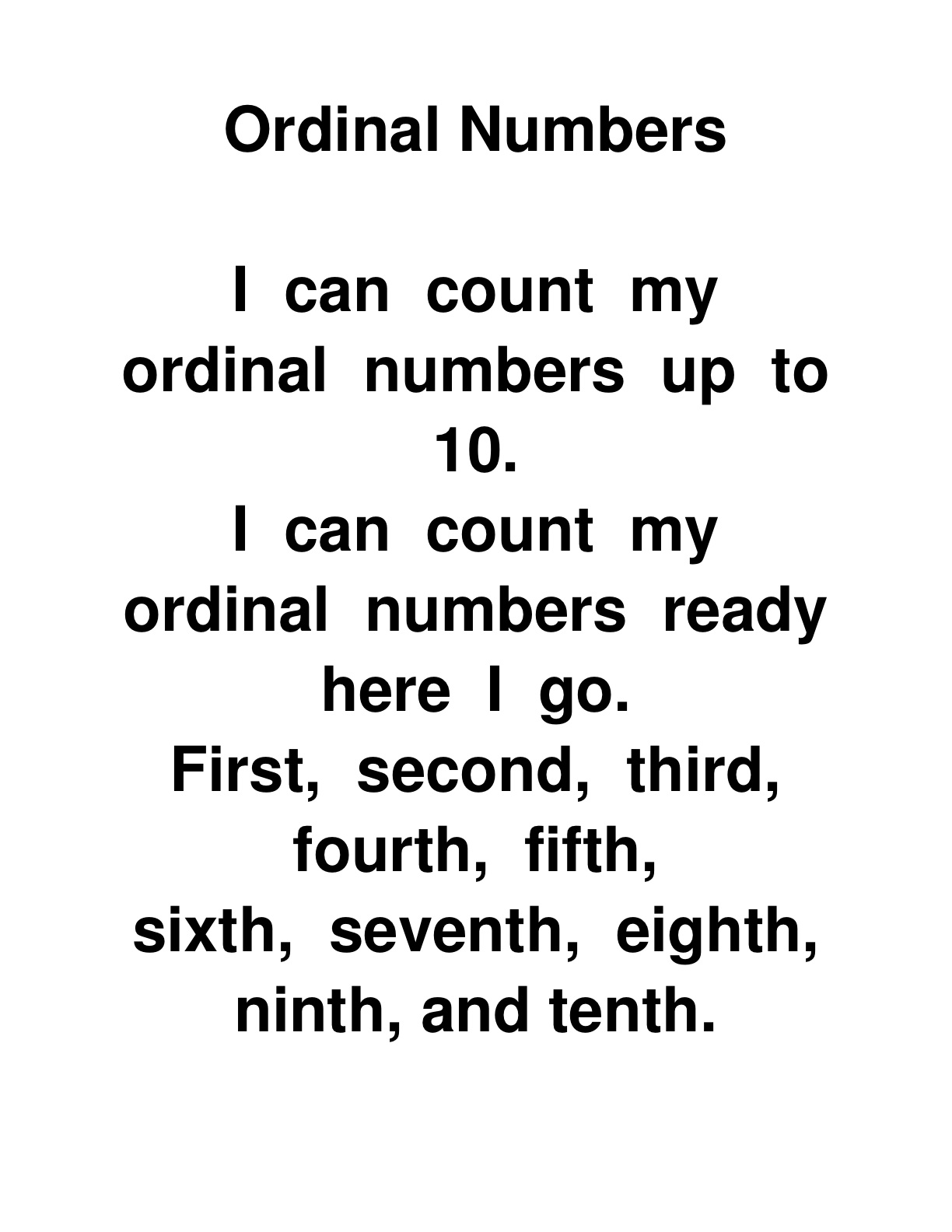 Kindergarten Teachers Unleashed Ordinal Number Transition