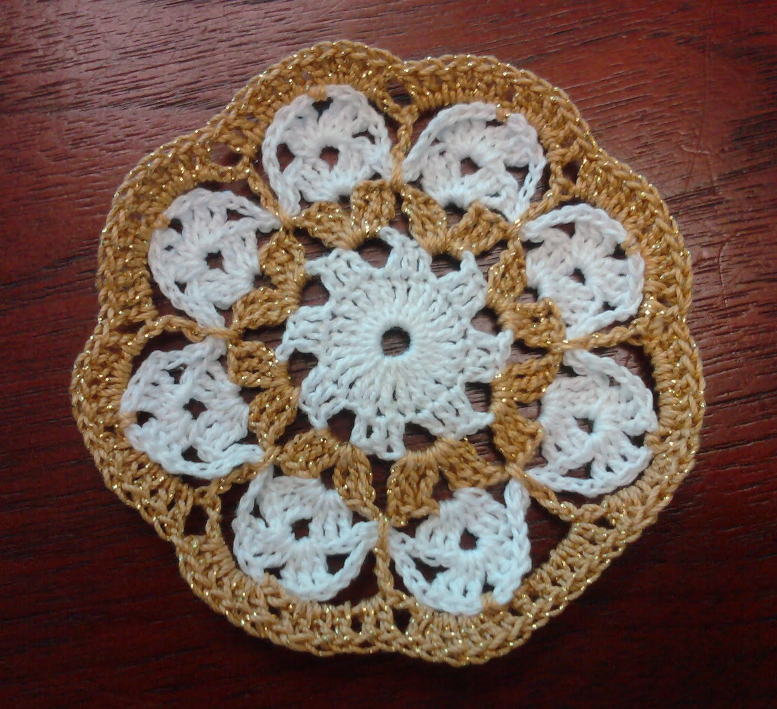 White And Gold Coasters Sole Dominion Crochet Coasters