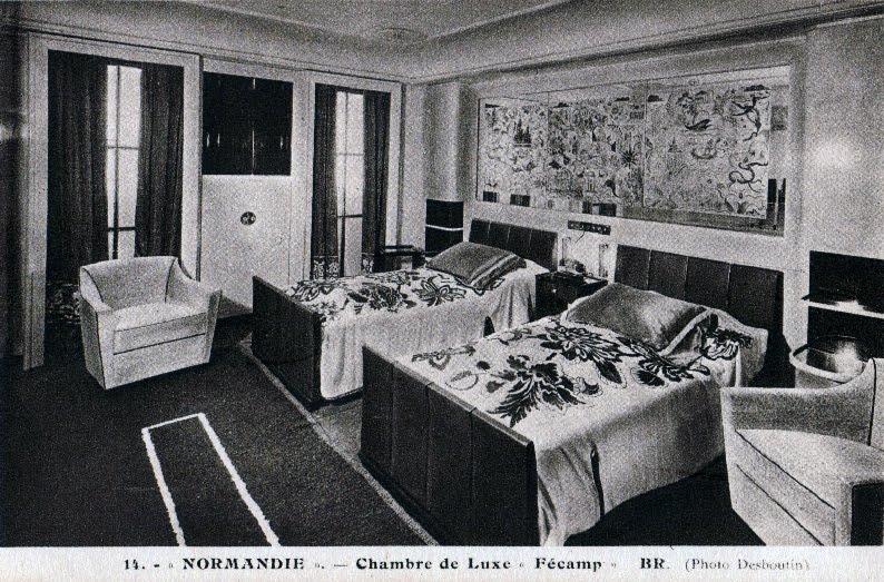 Chambre Luxe Normandie : Archives maritimes emménagements du paquebot normandie