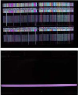 Barra de color en la pantalla  de televisor LCD.