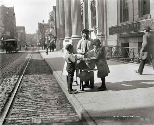 2b8ab9c46 Detroit Photographic Co. Horses, Nuts and Tramlines 1900. Peanut stand, 230  Grand Street, New York CIty