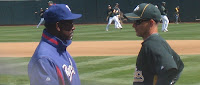 Texas Rangers Manager Ron Washington talks to  A's 2nd baseman, Mark Ellis