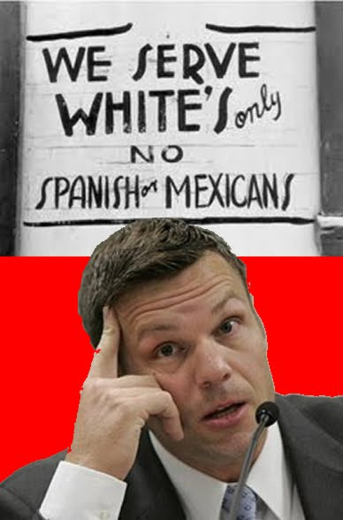 Falsely altered photograph of Kris Kobach posted on Community Bridge Blog