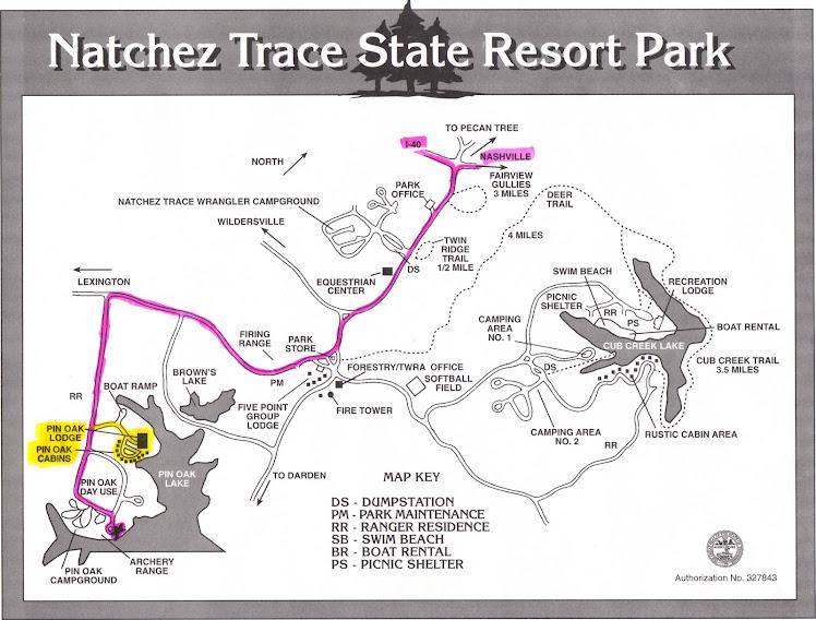 Map Of Natchez Trace State Park