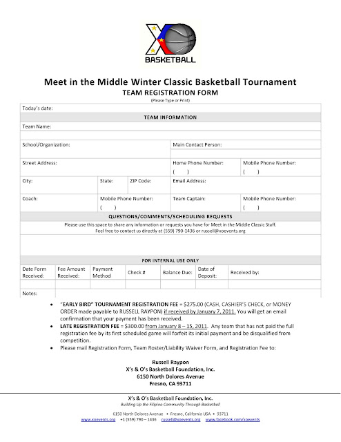 3 On 3 Basketball Tournament Registration Form Template Choice Image