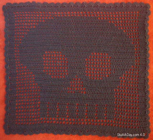 Dia De La Abby 2 Filet Crochet Skull