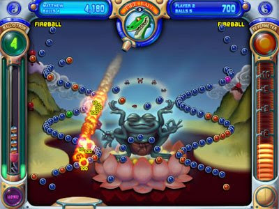 Image of the game Peggle - a little like a Bagatelle or Pachinko machine.
