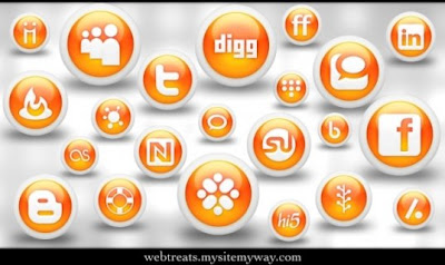 132  608x608 01 glossy orange orb social media icons webtreats preview 75 Beautiful Free Social Bookmarking Icon Sets