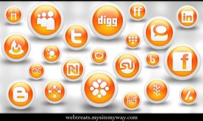 132  608x608 01 glossy orange orb social media icons webtreats preview 75 Beautiful Free Social Bookmarking Icon Sets