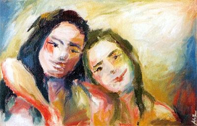 Duas Meninas - 2002 (pintura de Stella Nani / acervo de Jean Tosetto)