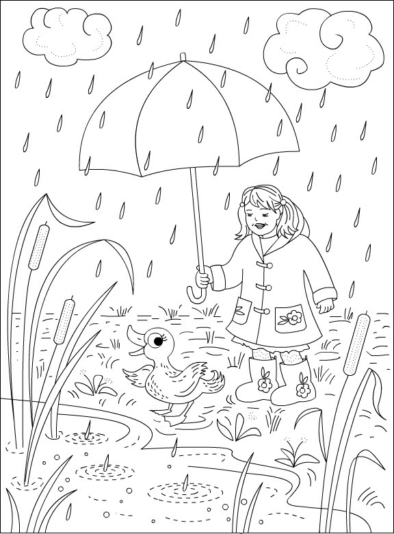 Imagens da chuva para imprimir e colorir - Fichas e Atividades