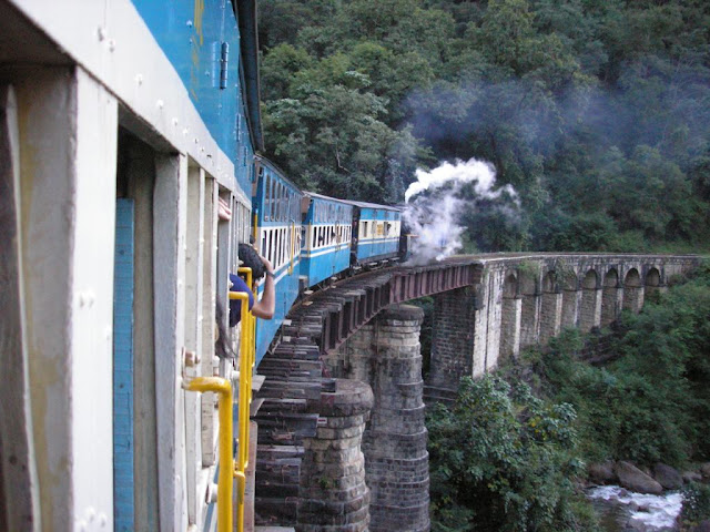 Train Passing on the Bridge beside Mountains - Ooty