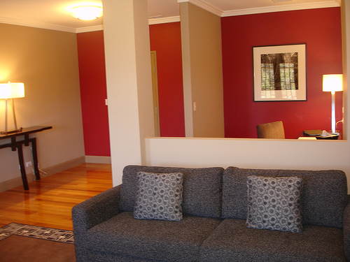 Red Accent Wall Living Room   HOME DESIGN