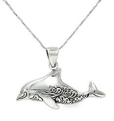 smiling dolphin pendant necklaces 925 sterling silver